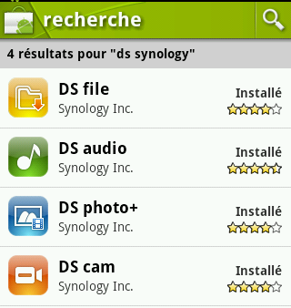 Applications Android fournies par Synology