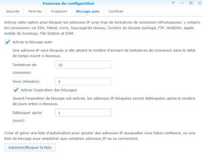 Blocage IP sous DSM 5.0