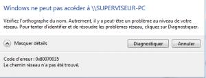 Impossible d'accéder à un partage réseau sous Windows 7