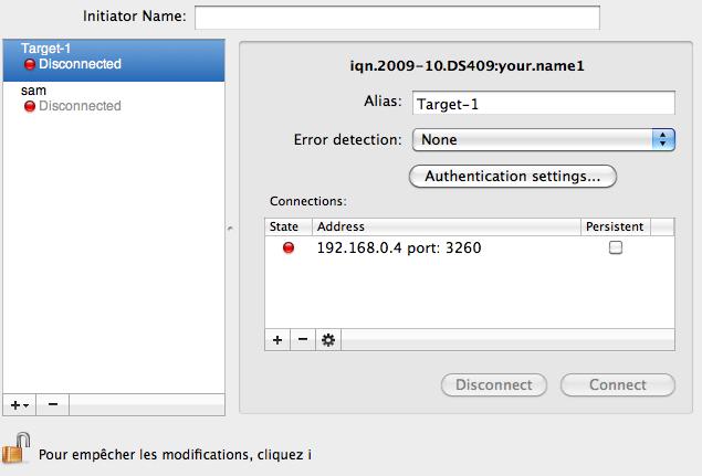 Configuration iSCSI dans GlobalSAN