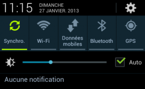 Panneau des notifications du Galaxy S3 de Samsung