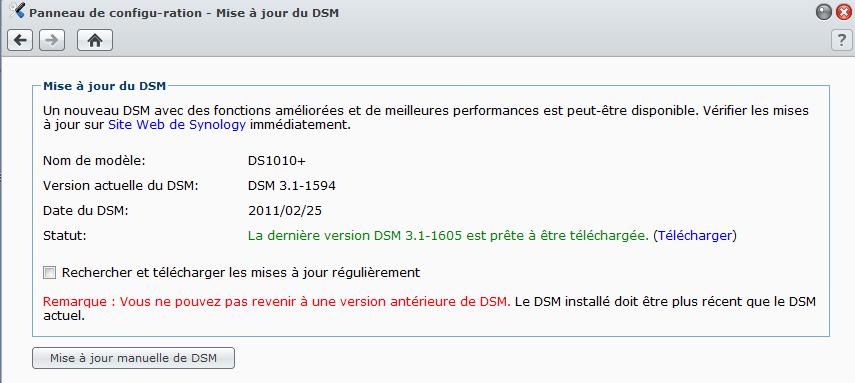 Détection de la disponibilité du nouveau firmware sur un DS1010+