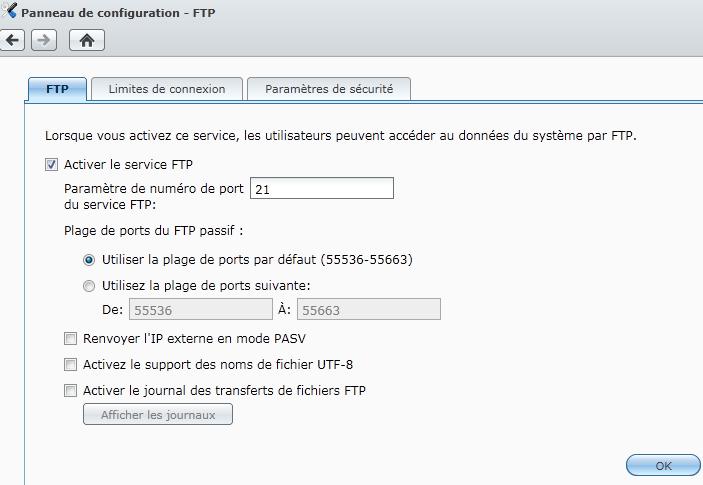 Paramètres FTP dans DSM 3.1