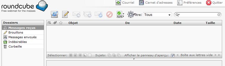 Interface de Roundcube Webmail