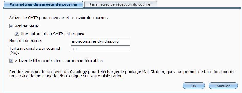 Paramétrage SMTP