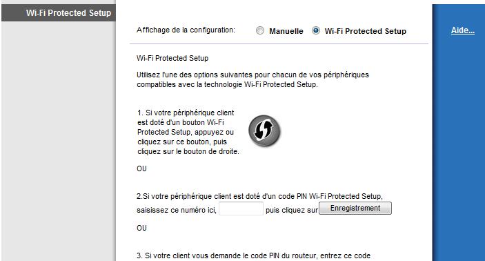 Wifi Protected Setup du Cisco Linksys E2000